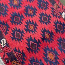 Handmade Afghan Kazakh Oriental Tribal Accent Rug, Jewel Tones, Natural Dyes 3x6