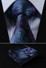 "TF4001G8S Green Purple Floral 3.4"" Silk Woven Men Tie Necktie Handkerchief Set"