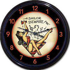 Tattoo Sailor Martini Pinup Wall Clock Old School Navy Tat Parlor Parlour 10""