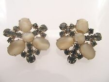 Vintage Clip On Smoky Rhinestone and Givre Cab Clip On Earrings