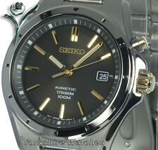 Mens SEIKO KINETIC FULL TITANIUM Metallic Bronze Dial 2 Year Warranty SKA495P1
