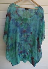 City Chic Women's Sheer Green Blue & Red Floral Top - Size XL