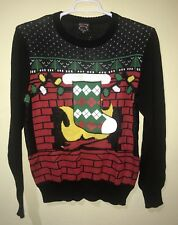 Well Worn Holiday Sweater Men Beer Holder Ugly Christmas Stocking Black Sz M NEW