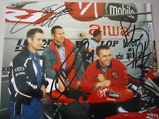 Virgin Mobile Yamaha race team A4 photo signed by Plater, Crafar & Whitham
