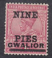 India Gwalior - KGV 1921 - 9P on 1A Carmine - SG79 - Mint Hinged (C26G)