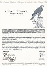 Document Philatélique Timbre 1er Jour : 22/09/ 1984 - Epervier d'Europe