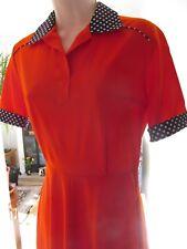 vintage pleas red polka dot collared mod 60s fit flare nylon dress uk 10
