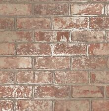 LOVE YOUR HOME METALLIC RED GOLD BRICK WALL LUXURY WALLPAPER FINE DECOR FD41954