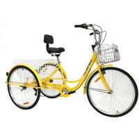 "7-Speed Adult 20""/26"" 3-Wheel Trike Tricycle Bike Bicycle Cruise With Basket"