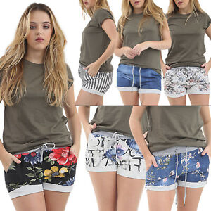 Women Italian Shorts Ladies Elastic Waist Floral Stretch  Shorts Beach Pants New