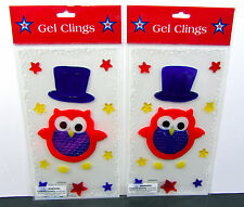 GEL CLINGS (LOT OF 2) 4TH OF JULY Top Hat Owl STARS WINDOW DECOR (2) Sheets NEW