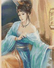 Cross Stitch Chart - Oriental Lady / Geisha 211 blue and gold Tsg37