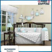 Blue Gray Chevron 13 pcs Crib Bedding Set Baby Boy Nursery Quilt Bumper Diaper