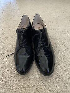 Louise Et Cie Shoes Black Patent Leather Oxfords Lace Up Heel Woman's Sz 9