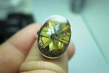 VIDEO!36 ct. STAR RUTILE QUARTZ CRYSTAL 925 SILVER USA SIZE 7 1/2 RING - Y 14
