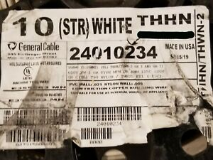 General Cable #10awg 19 Stranded THHN/THWN-2/MTW Building Wire White /100ft