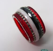 New Sterling Silver CZ Ceramic And Red Acrylic Swiveling Band Ring