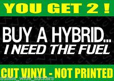 2 x Funny BNS 4x4 Ute Car Bumper Stickers BUY A HYBRID Custom V8 parts 200mm