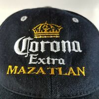 Corona Extra Mazatlan Ball Cap Hat Mexico Embroidered Black White Yellow Adjust