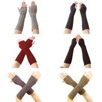 Women Winter Long Gloves Mitten Knitted Wrist Fashion Hand Fingerless Arm Warmer
