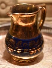 "Antique English Copper Luster Pottery CREAM Pitcher COBALT BLUE STRIPED 5.25""H"