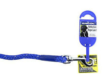 "Ancol Blue Nylon Reflective Rope Lead 44"" (111cm) Strong Weatherproof Light"