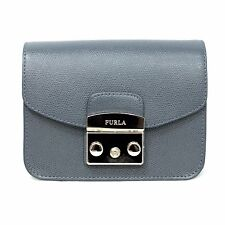 Woman Bag FURLA METROPOLIS blue gray leather mini bag new AVIO SCURO 884886