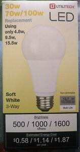 UtiliTech LED 30w/70w/100w Bulb Soft White Standard 3-Way