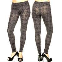 Print Leggings Size S M L Skull Punisher Grunge Stretch Pants Skinny Womens New
