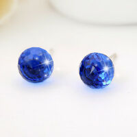 Women 925 Sterling Silver Diamond Cutting Round Crystal Ball Beads Stud Earrings