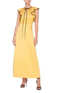 Alexachung Yellow Black Satin Ruffle Maxi Gown US 8 UK 12  Alexa Chung Dress