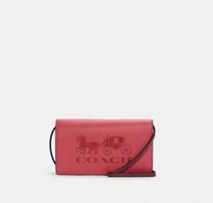 COACH OUTLET-Anna Foldover Crossbody Clutch With Horse And Carriage/RED-RRP$425