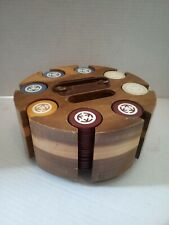 Vintage Clay Rare Poker Chips w/ Solid Hardwood Caddy 184 Chips! Free Shipping