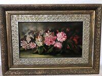 🔥 Beautiful Antique 19th c. Still Life Oil Painting of Flowers - M.J. Heade