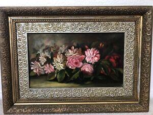 👀 Beautiful Antique 19th c. Still Life Oil Painting of Flowers - M.J. Heade