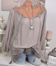 Lockre Sitzende Damenblusen,-Tops & -Shirts mit Rundhals und Seide ohne Muster