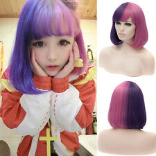 New Short Straight Anime Bob Wig Pink Purple Ombre Hair Cosplay Costume Full Wig