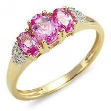 Halo Pink Sapphire 18K Gold Filled Women's Fashion Engagement Rings Size 7,8,9