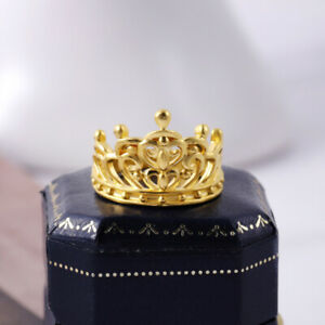 Real 24K Yellow Gold Ring For Women 3D Hard Gold Imperial Crown Real Gold Ring