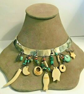 TABRA Artisan Sterling Silver Stone Coral Turquoise Dangles Choker Handcrafted
