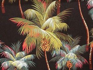 PAIR Tropical Hawaiian Cotton Barkcloth Fabric CAFE' CURTAINS ~Palm Trees-Black~