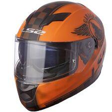 LARGE LS2 FAN Matte Orange Full Face Motorcycle Helmet w/ Internal Sun Shield