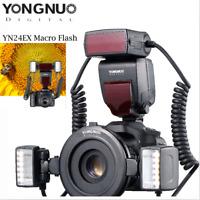Yongnuo YN24EX TTL Macro Flash Speedlite For Canon EOS DSLR Camera+Adapter Rings