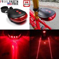 Bike Bicycle Light 5 LED + 2 Laser Rear Tail Flashing Safety Warning Lamp Night