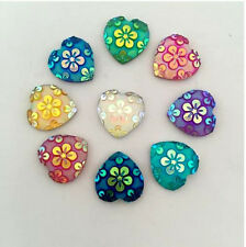 10 PIECES SPARKLING RESIN CABOCHON HEART FLOWER DAISY EMBELLISHMENT, JEWELERY