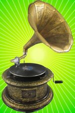 Grammophon graviert ziseliert rund metallic Messing optik Geschenk Dekoration