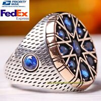 AAA Quality Sapphire Turkish 925 Sterling Silver blue stone Mens ring ALL SİZE