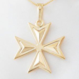 MALTESE CROSS 9ct Gold 3D Amalfi Pendant Genuine Hallmarked 375 Knights of Malta