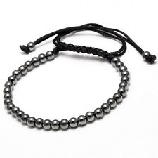 New Jewelry Charms Punk Unisex Women Mens Leather Macrame Bracelet 18K 4MM Beads