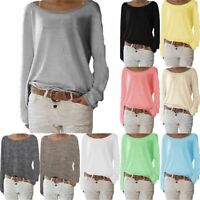 Womens Elegant Autumn Loose Tops Long Sleeve Casual Pullover Jumper Sweater 6-16